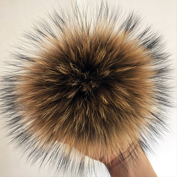 5A quality 15cm Large Size Real DIY Fox Fur Pom Poms  Raccoon Poms, Natural Ball For Beanies & Bags, Shoes - discount item  29% OFF Hats & Caps
