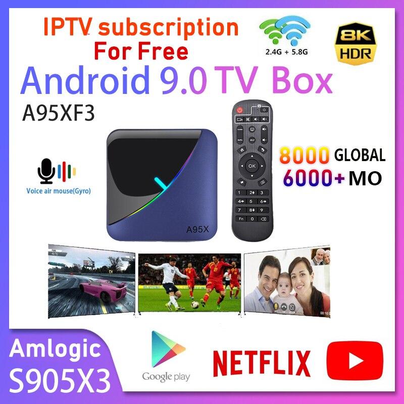 A95X F3 Air Smart TV BOX Android 9,0 Amlogic S905X3 lebensdauer 16GB 64GB Wifi Media Player 8K RGB Licht keine monatlichen keine jährliche iptv