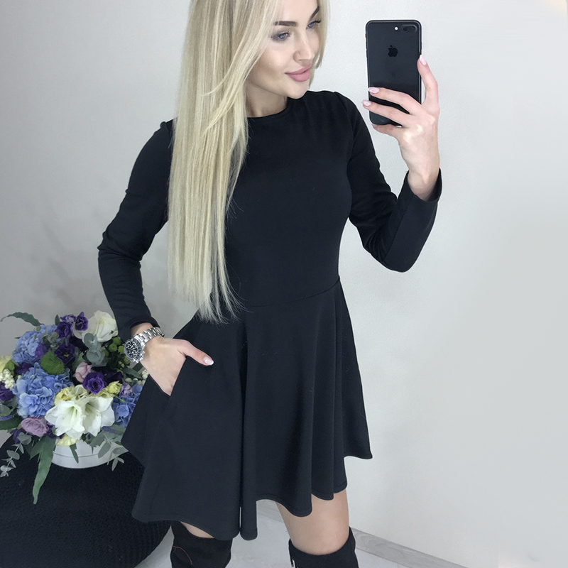 Осенне-зимнее Повседневное платье трапециевидной формы с длинным рукавом, офисное женское платье с круглым вырезом, однотонное мини-платье...