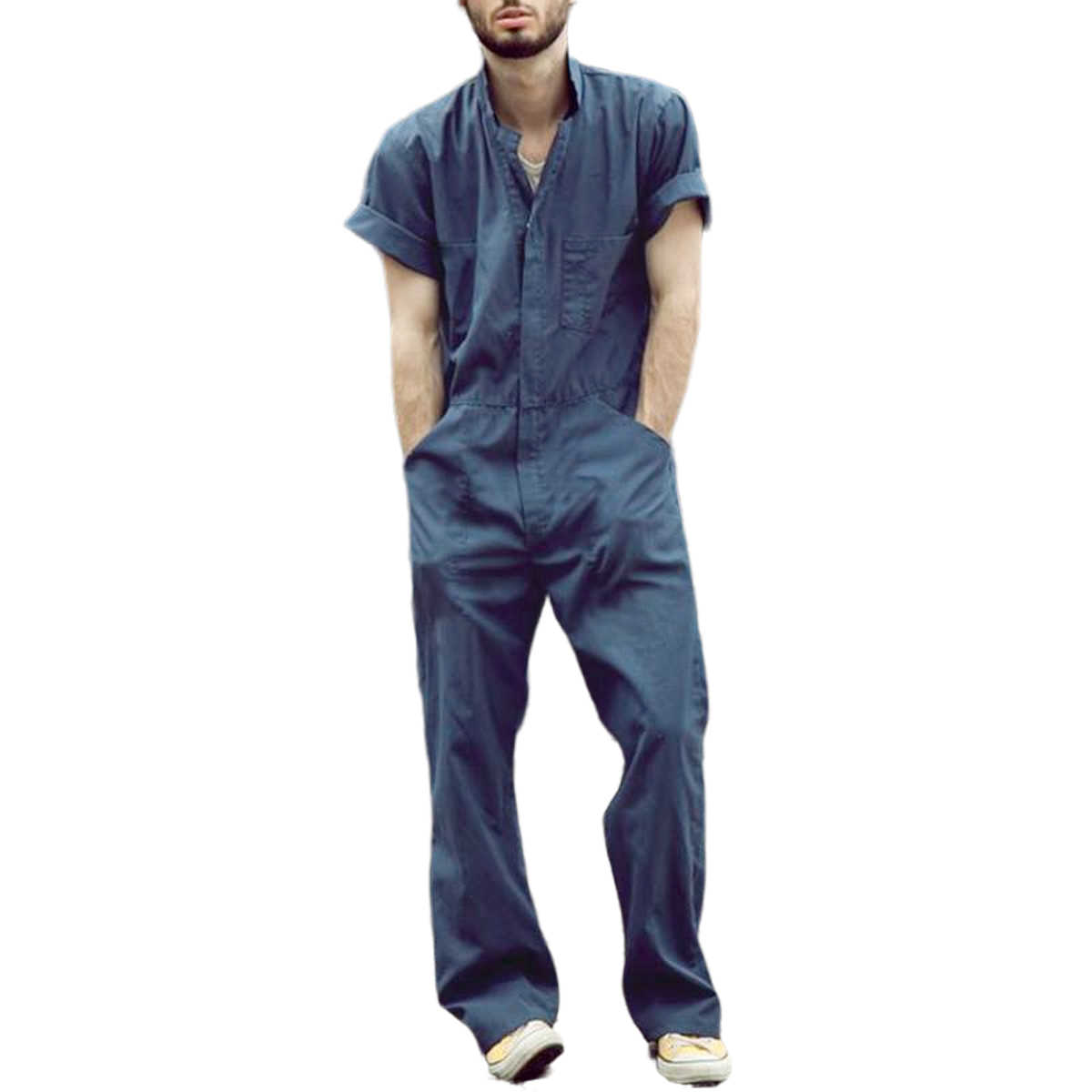 Male Jumpsuit Men Short Sleeve Basic Work Coverall Loose Cargo Overalls Solid Color Casual Joggers Street Wear Pants Jumpsuit Aliexpress