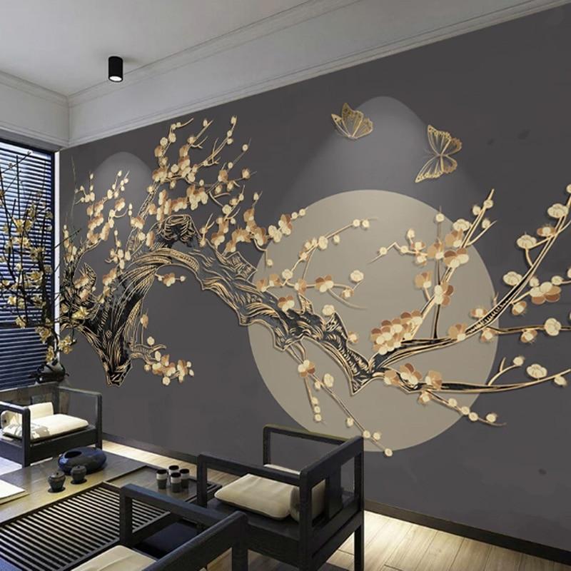 Japanese-style Mural Plum Blossom Moon Wallpaper Sushi Restaurant Living Room Bedroom TV Background Wall Deocative Custom Size