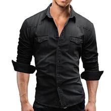 Denim Shirt Men Cotton Denim Shirt Fashion Autumn