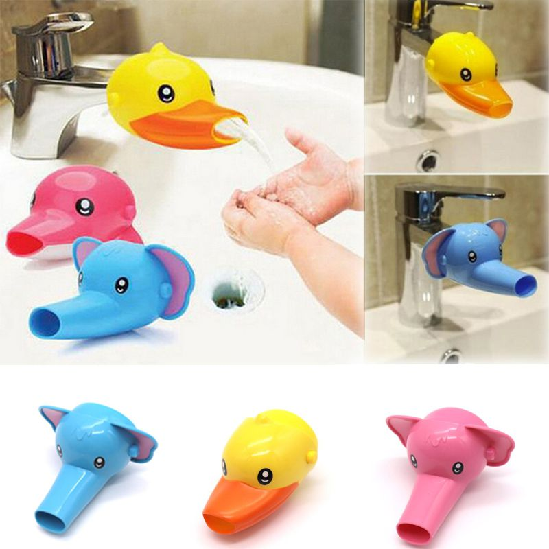 Happy and Funny Animal Faucet Extender Baby Bathtub Kids Hand Washing Bathroom Sink Gift Fashionable and Convenient Cute Cartoon