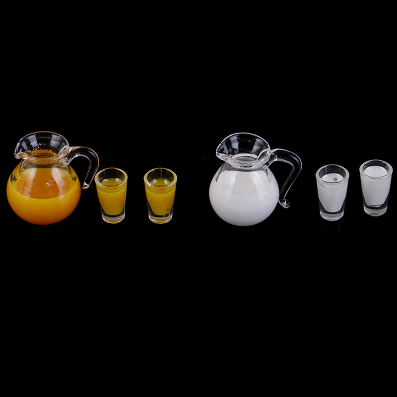 1:12 Dollhouse Miniature Accessories Mini Juice Jug Cup Set Simulation Drink Milk  Model Toys For Doll House Decoration