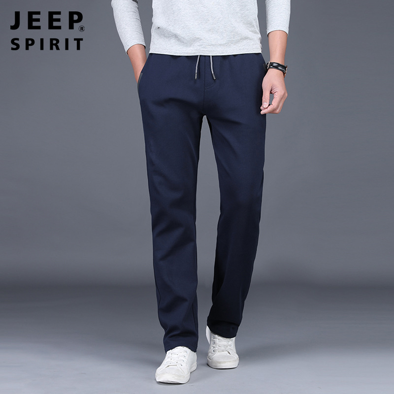 Jp2019 Autumn And Winter Men Thick Sports Sweatpants Lace-up Cotton Straight-Cut Medium Waist Large Size Men's Trousers Thick Ca