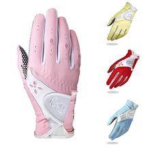 1 Pair Women's Golf Gloves Anti-slip Design Left And Gloves Hand Soft Sports Cloth Breathable Right Granules Microfiber T4A5