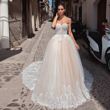 Verngo Ball Gown Boho Wedding Dress Lace Appliques Strapless Bride Backless Weeding Gowns Abiti Da Sposa