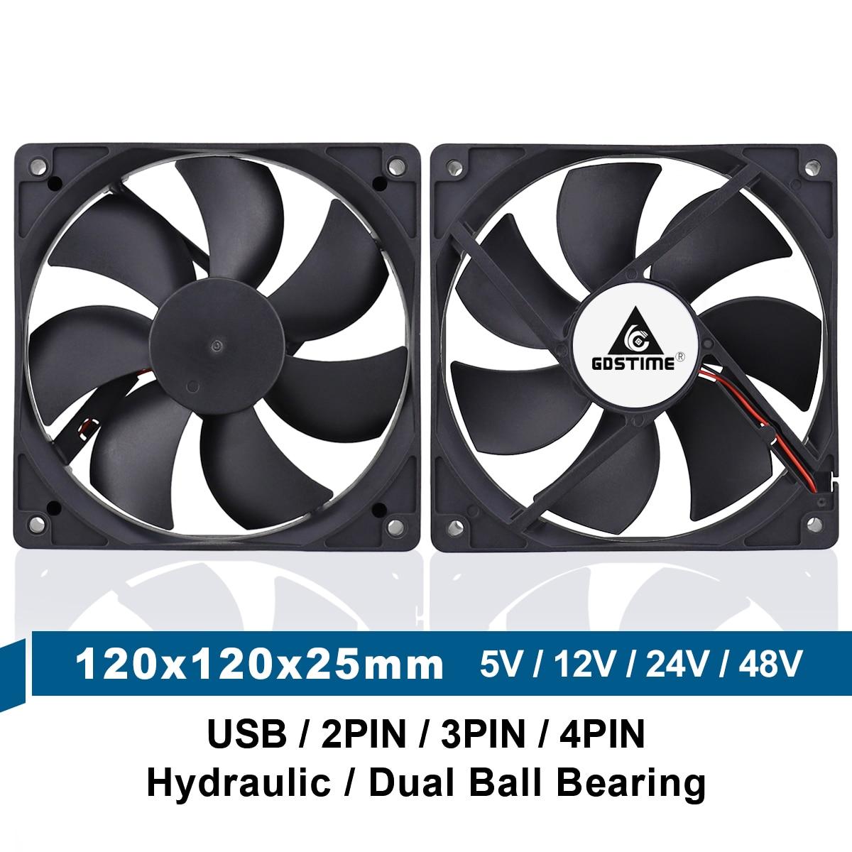 5V 12V 24V 48V 120mm 12025 Sleeve/Ball Cooling Fan 120x120x25mm FG PWM USB 2PIN 3PIN 4PIN DC Cooler Fan for PC Computer Case