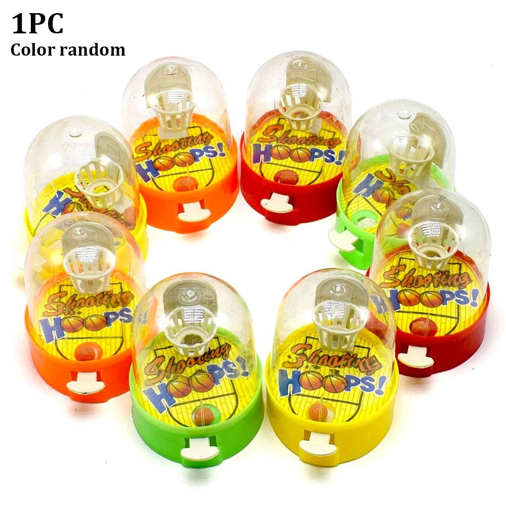 Jogos De Plástico Bonito Engraçado Bolas de Tiro Aros de Cor Aleatória de Liberação de Pressão Presentes de Desktop Portátil Mini Dedo de Basquete Brinquedo