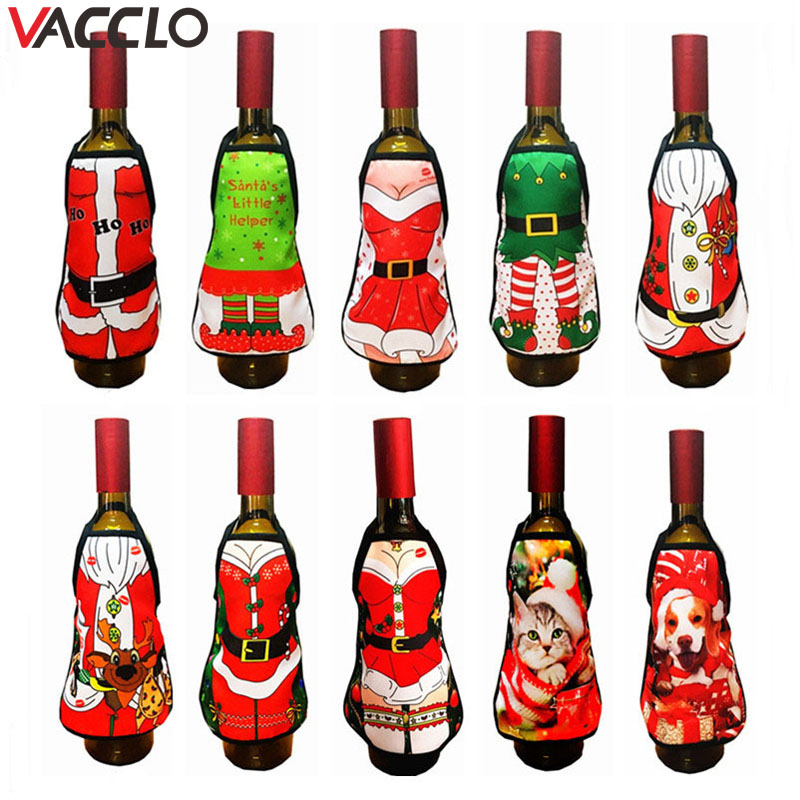 Vacclo 2019 New Santa Claus Wine Bottle Cover Christmas Decoration for Home New Year Xmas Decor Mini Apron Red Wine Bottle Cloth image
