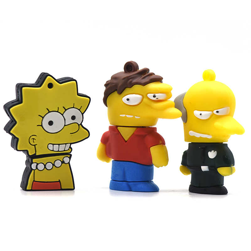 Bart Simpson Mouse Serigala Memory Stick Anime Kartun Simpsons USB Flash Drvie 32GB 16GB 8GB 4GB flashdisk Pen Drive 64GB U Stick