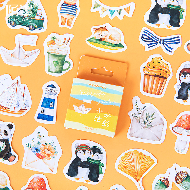 Mohamm 45 PCS Boxed Stickers Watercolor Drawing Stickers Cute Cartoon Animals Decoration Sticker Flakes Scrapbooking Gift Girl S