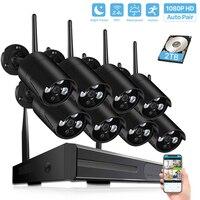 4CH/8CH CCTV Беспроводная система 1080P H.265 NVR 2.0MP наружная Водонепроницаемая Wifi камера безопасности система ночного видения комплект наблюдения