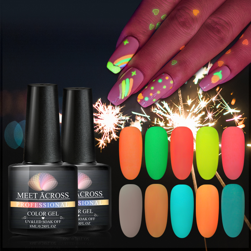 MEET ACROSS 8ml Glow In The Dark Gel Varnish UV Nail Gel Polish 12 Colors Nails Fluorescent Luminous Colorful Neon Gel Lacquer