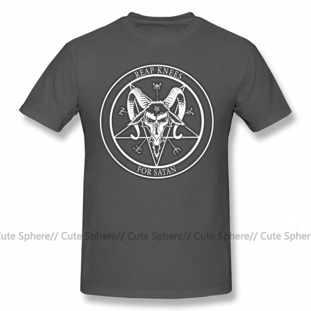 Satana T Camicia Raccogliere Le Ginocchia Per Satana Disegno Art T-Shirt Più Il formato Carino Tee Shirt Graphic Cotone Casual Manica Corta uomo Tshirt