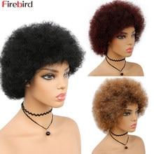 Perruque Afro naturelle crépue bouclée avec frange, cheveux humains, pour Cosplay, danse, fête