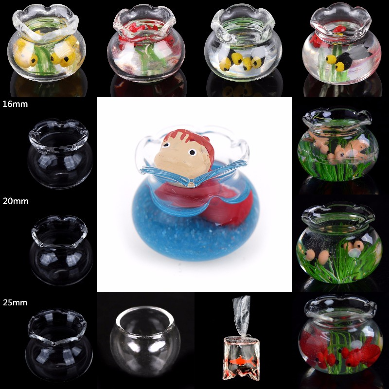 Glass Fish Tank Transparent Aquarium Dollhouse Home Ornaments Kids Toys Doll Toy Gift Pretend Play Toys 1:12 Dollhouse Miniature