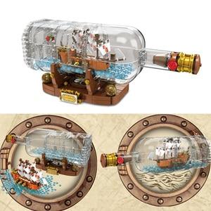 Image 4 - Lepinblocks корабль со светодиодсветильник кой Лодка в бутылке 21313 техника идеи Lepining Playmobil строительные блоки кирпичи детские игрушки для детей