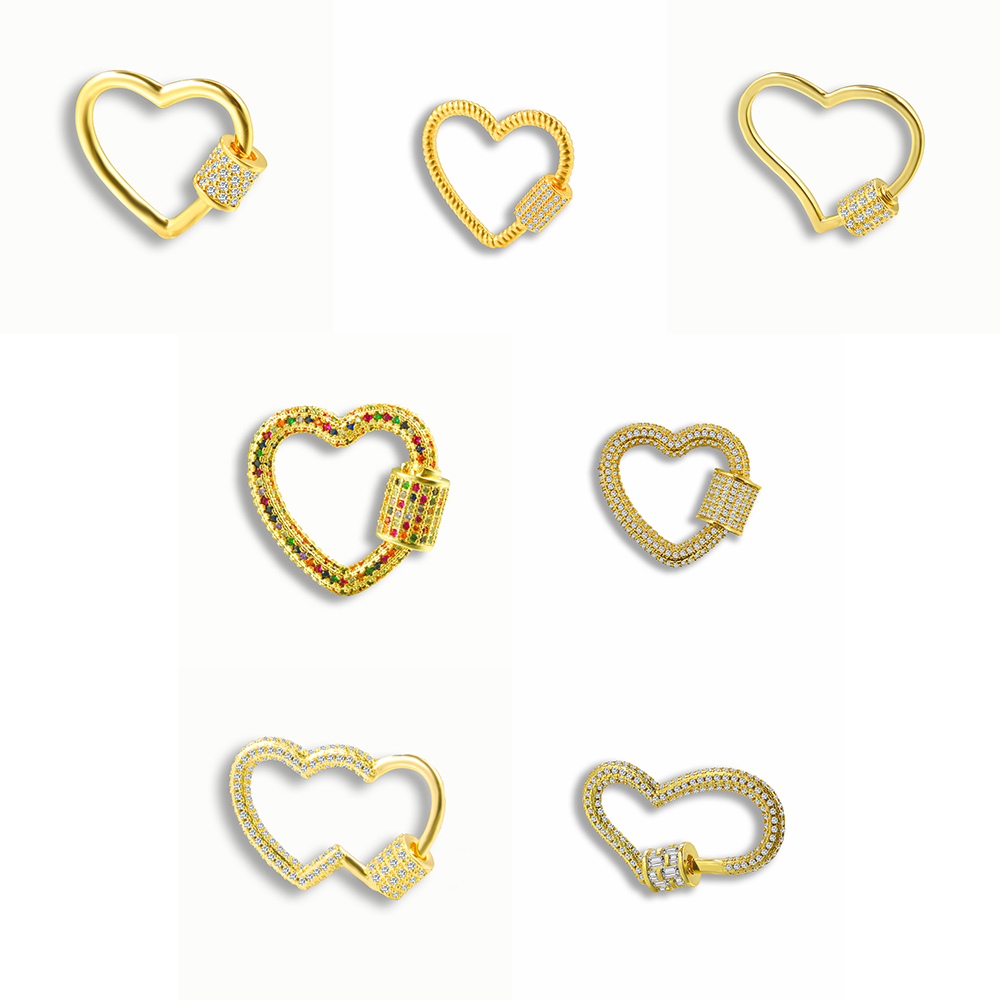 Fashion DIY Heart-shaped Micro-inlaid Zircon Spiral Buckle Pendant Pendant Jewelry For Making High-quality Jewelry Accessories