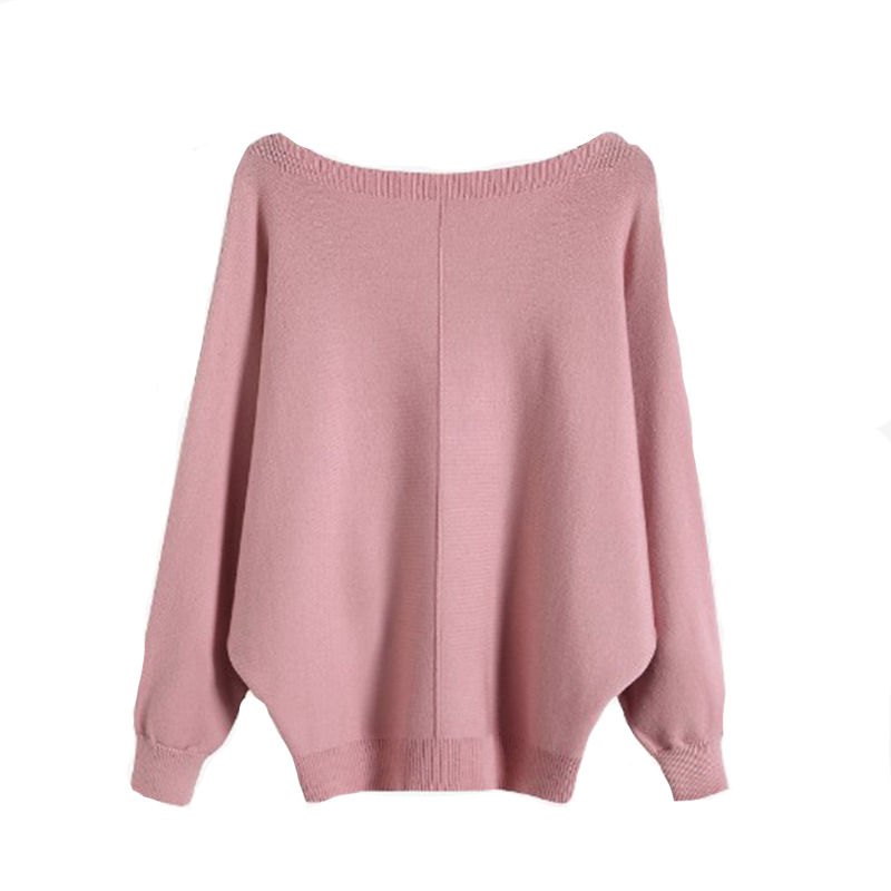 2019 Women Sweater And Pullovers O-Neck Batwing Sleeve Women Sweater Autumn Pink Pullovers Black Sweater Femme Tricot Pull Femme