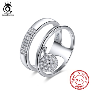 Image 1 - ORSA JEWELS Real 925 Sterling Silver Rings For Women AAA Shiny Cubic Zircon Dangle Finger Ring Sets Female Party Jewelry OSR54
