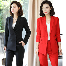 Black Red Pink female women's trouser Pants suits with dress jacket vest costume