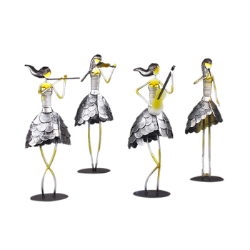 4PCS/Set Metal Home Decoration Accessories for Living Room Decorative Crafts Iron Music Girl Ornaments Decorative Crafts People