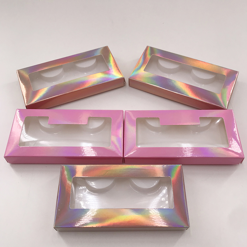 Holographic Cases Custom Empty Eyelash Packaging With Your Own Brand Baby Pink Color Box Without Eyelashes