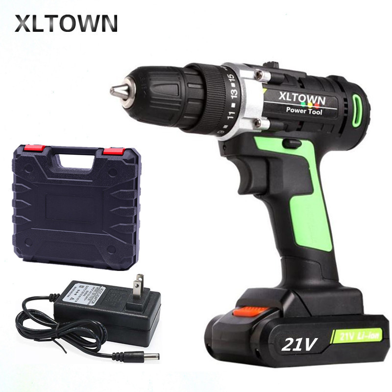 XLTOWN 12V16.8V/21V electric screwdriver multi-function chargeable lithium battery home hand drill power tools electric drill