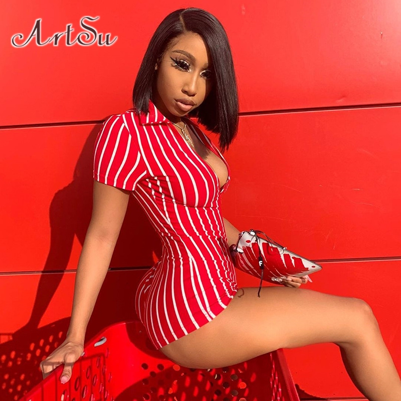 ArtSu Women Sexy Playsuit Red White Striped Short Sleeve Rompers 2019 New Female Elastic Skinny Sexy Party Bodysuits ASJU20722