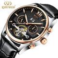 KINYUED мужские модные механические наручные часы с турбийоном  мужские часы Топ люксовый бренд  военные водонепроницаемые кожаные мужские ча...