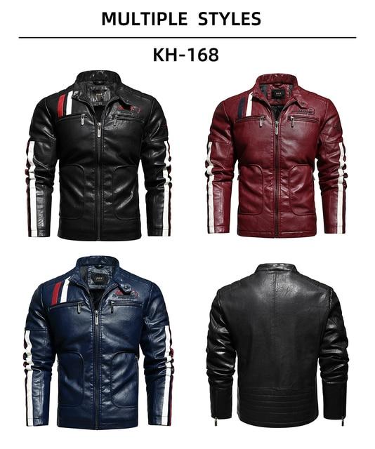 Vintage Motorcycle Jacket 2020 Men Fashion New Biker Leather Jacket Male Embroidery Bomber Coat Winter Fleece Pu Overcoat 3