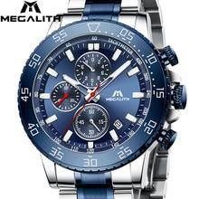 Relogio Masculino 2020 MEGALITH Luruxyนาฬิกาควอตซ์ผู้ชายสายคล้องคอหมาป่าEmbossedหัวนาฬิกาผู้ชายกันน้ำนาฬิกาส่องสว่าง