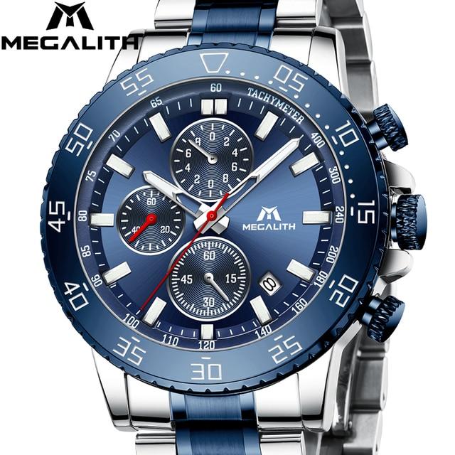 Relogio Masculino 2020 MEGALITH luruxy quartz watch men full steel strap embossed wolf head clock men waterproof luminous watch