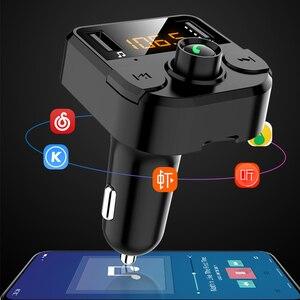 Image 2 - Samochodowy nadajnik bluetooth Fm bezprzewodowa ładowarka samochodowa podwójny USB bluetooth 5.0 Audio muzyka odtwarzacz MP3 akcesoria samochodowe bluetooth