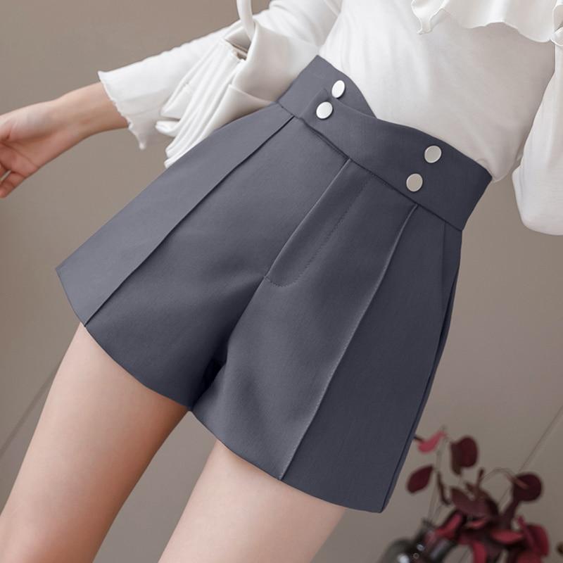 Plus Size Suits Shorts Women 2020 Summer New High Waist Solid Black Office Work Shorts Ladies Pocket Gray Wide Leg Trouser S-XL