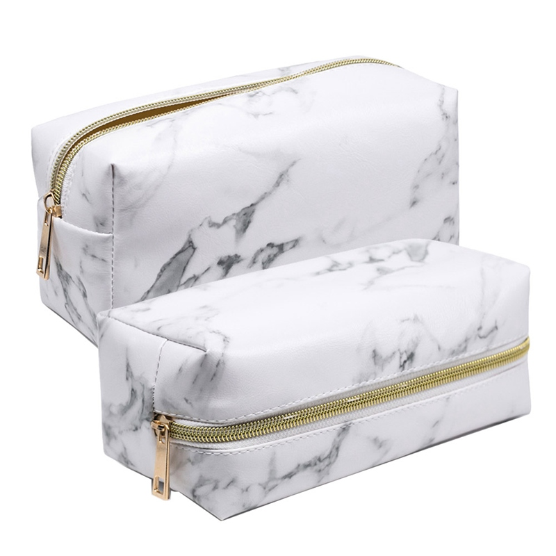 Large Marble Pencil Case Leather Pen Box Big Makeup Bag For Girls Gift PU Etui Office School Travel Supplies Chancery Penalty