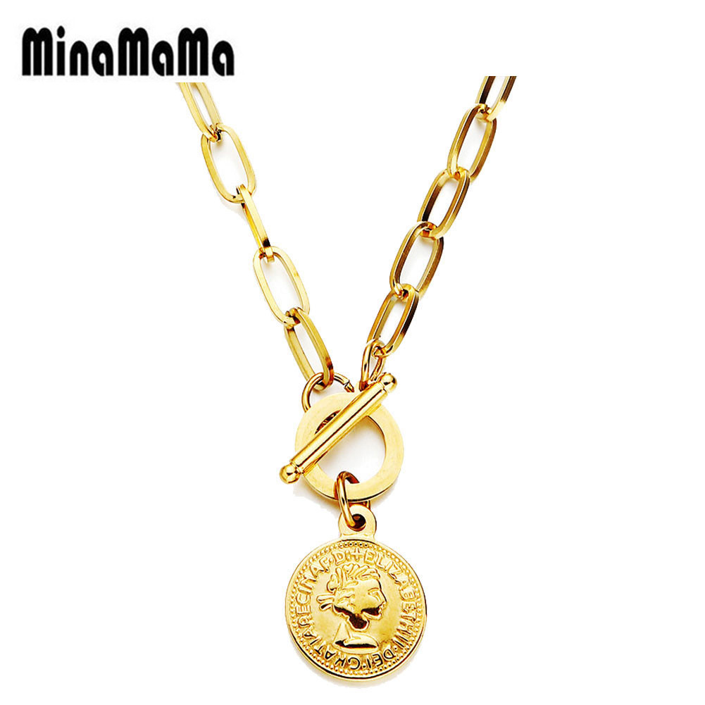 Hip Hop Gold Silver Color Stainless Steel Toggle Beauty Head Pendant Necklace OT Buckle Coin Choker Necklace For Women Jewelry