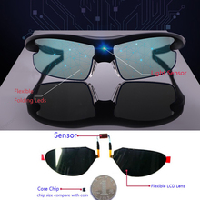 2020 Auto Dimming Smart Sunglasses Men Polarized Photochromic Discoloration Driving Sun Glasses Sport Solar Power Supply