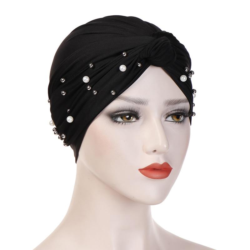 Muslim Hijab Women Crinkle Hijab Beaded Indian Chemo Cap Hijab Scarf Hijab Jersey New Hijab Caps Stretch Hijab Beanie Headscarf