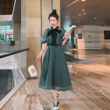 2020 Summer New Lantern Short Sleeve Bow Collar Dot Casual D