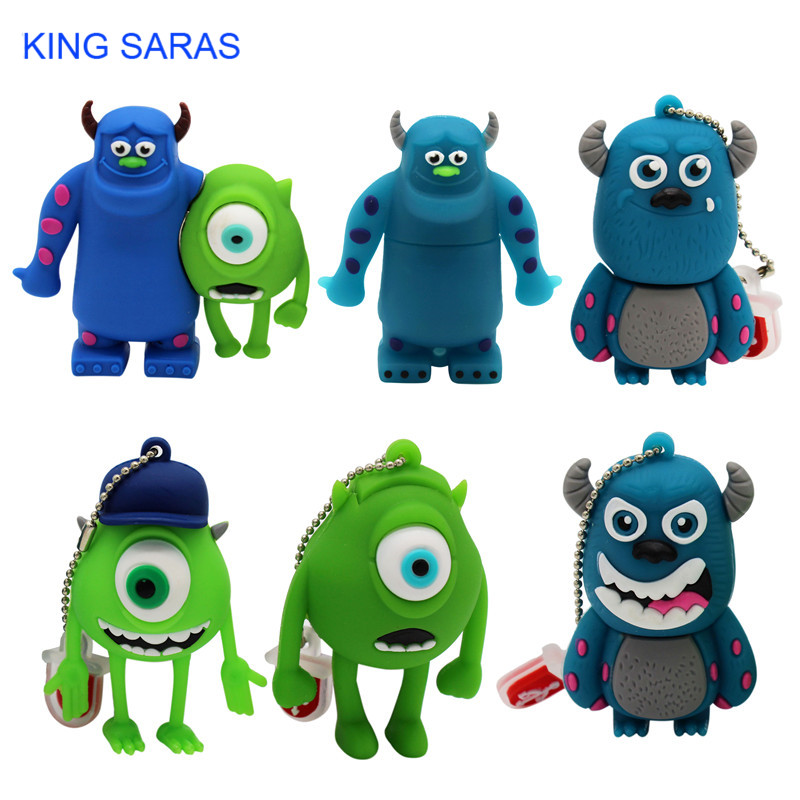 KING SARAS Cute Cartoon 3 Colour Monster University Usb Flash Drive Usb 2.0 4GB 8GB 16GB 32GB 64GB Pendrive Best Gift