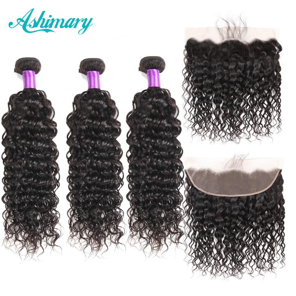 Ashimary Hair Water Wave Bundles With Frontal Remy Lace Frontal Closure With Bundles Peruvian Hair Bundles With Closure