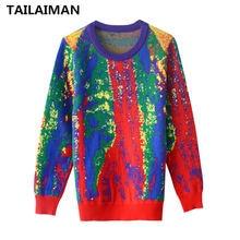 Женский осенний свитер повседневный лоскутный пуловер с длинным