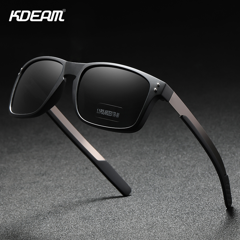 KDEAM Rectangular Polarized Sunglasses Men Outdoor Driving Sun Glasses Man TR90 Flexible Frame Mix Stainless Steel Temple|Men