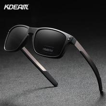 KDEAM 직사각형 편광 선글라스 남자 야외 운전 태양 안경 남자 TR90 유연한 프레임 믹스 스테인레스 스틸 사원