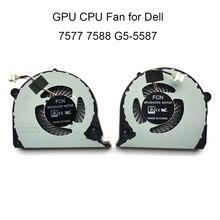 Fãs do computador para dell inspiron 15 g7 7577 7588 02jjcp p72 gpu placa gráfica cpu ventilador de refrigeração dc5v dfs2000054h0t fjqs fjqt novo