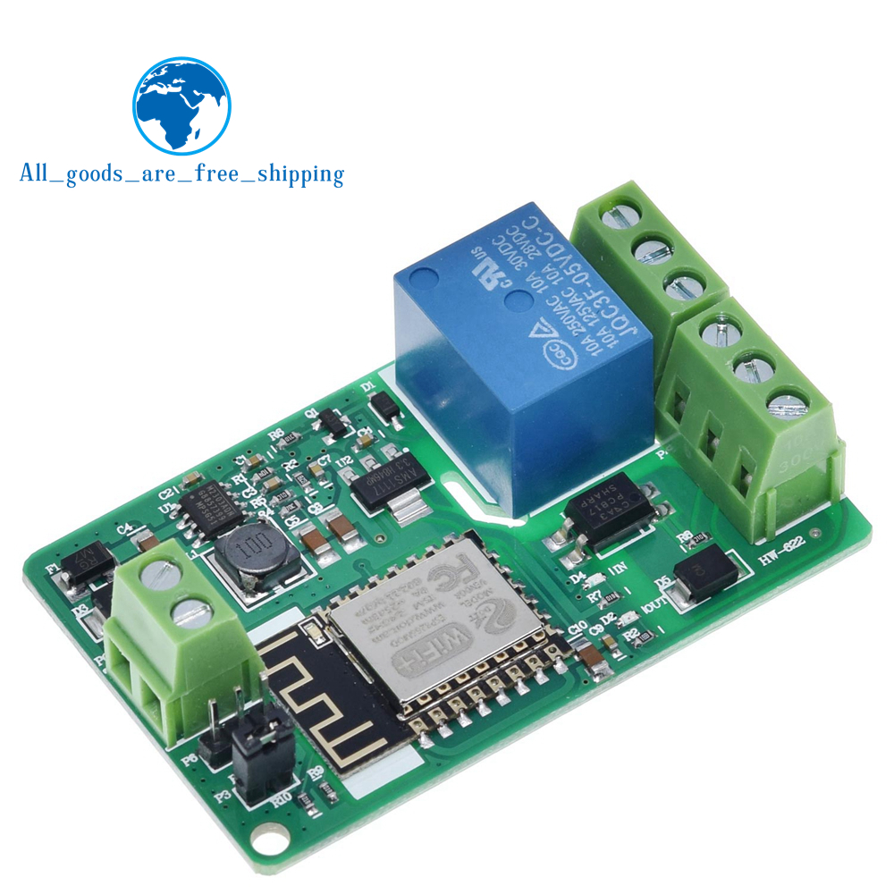 Green ESP8266 Relay Module 10A 220V Network Relay WIFI Module Input DC 7V~30V 4 Layers Board TVS Input Automatic Protection