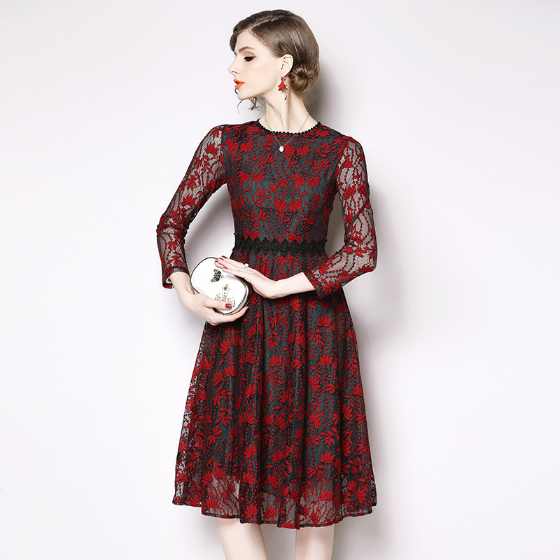 2019 Autumn Clothing New Style Europe And America Elegant Debutante Joint Lace Dress Retro Hollow Out Medium-length Lace Dress