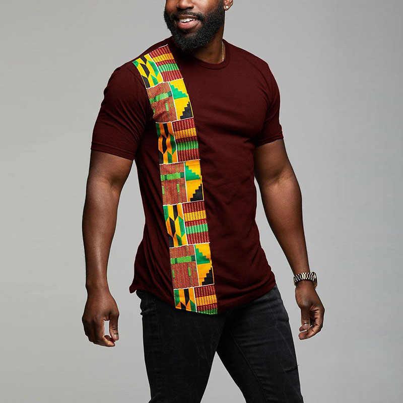 アフリカケンテ Tシャツパッチワークカラー印刷トップ着用メンズアンカラスタイルパネル Tシャツ O ネック用 Kitenge ファスリーブブラック